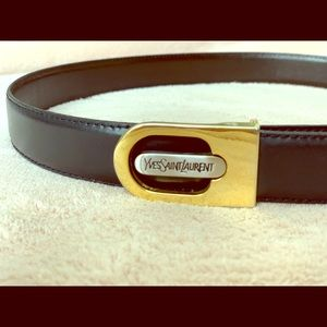 917a7d43eaf Yves Saint Laurent Accessories | Ysl Dark Brown Leather Belt W Gold ...